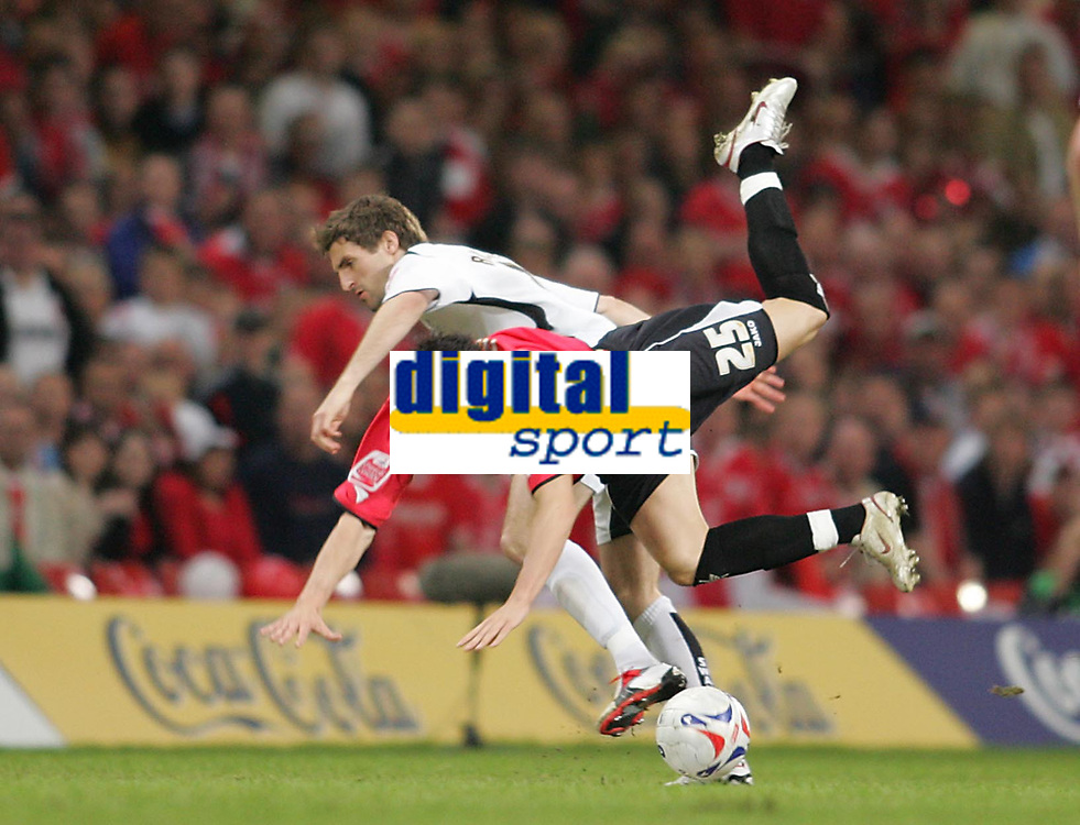 Photo: Lee Earle.<br /> Barnsley v Swansea City. Coca Cola League 1. Play off Final. 27/05/2006. Barnsley's Martin Devaney (R) clashes with Sam Ricketts.