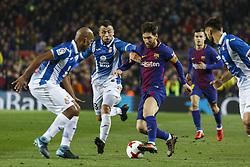 Enero 25, 2018 - Barcelona, Barcelona, Spain ..(10) Messi   Javi Fuego (centrocampista) y (05) Naldo (defensa)..Partido de Copa del Rei entre el FC Barcelona y el RCD Espanyol disputado en el Camp Nou.  El partido ha finalizado 2-0 y el FC Barcelona ha pasado la eliminatoria con goles de Suárez y Messi...(14) Coutinho (centrocampista) ha debutado en la segunda mitad. (Credit Image: © Joan Gosa/Xinhua via ZUMA Wire)