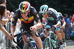 August 19, 2018 - Geraardsbergen, BELGIUM - Belgian Yves Lampaert of Quick-Step Floors pictured in action at the Muur Kapelmuur during the final stage of the Binkcbank Tour cycling race, 209,5 km from Lacs de l'Eau d'Heure to Geraardsbergen, Belgium, Sunday 19 August 2018. BELGA PHOTO DAVID STOCKMAN (Credit Image: © David Stockman/Belga via ZUMA Press)