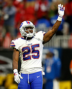 Buffalo Bills running back LeSean McCoy (25) waves to the crowd during a week 4 NFL football game against the Atlanta Falcons on Sunday, Oct. 1, 2017 in Atlanta, GA. (Mike Zarrilli/AP Images for Panini, via AP)