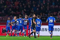13-03-2019 NED: Ajax - PEC Zwolle, Amsterdam<br /> Ajax has booked an oppressive victory over PEC Zwolle without entertaining the public 2-1 / Kenneth Paal #5 of PEC Zwolle, Vito van Crooij #7 of PEC Zwolle, Thomas Lam #3 of PEC Zwolle, Zian Flemming #14 of PEC Zwolle