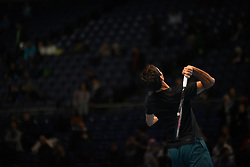 November 12, 2017 - London, United Kingdom - Roger Federer of Switzerland in action during a training session before his men's singles match against Jack Sock of the USA on day one of the ATP World Tour Finals at O2 Arena on November 11, 2017. (Credit Image: © Alberto Pezzali/NurPhoto via ZUMA Press)