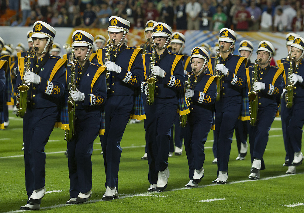 January 7, 2013:  Notre Dame band performs during the Discover BCS National Championship between the Alabama Crimson Tide and the Notre Dame Fighting Irish at Sun Life Stadium in Miami Gardens, Florida.  Alabama defeated Notre Dame 42-14.