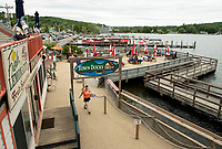 Plenty of dock access in Meredith for patrons at the Town Docks Restaurant.  (Karen Bobotas/for the Laconia Daily Sun)