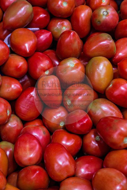 Fresh tomatos at Benito Juarez market in Oaxaca, Mexico.