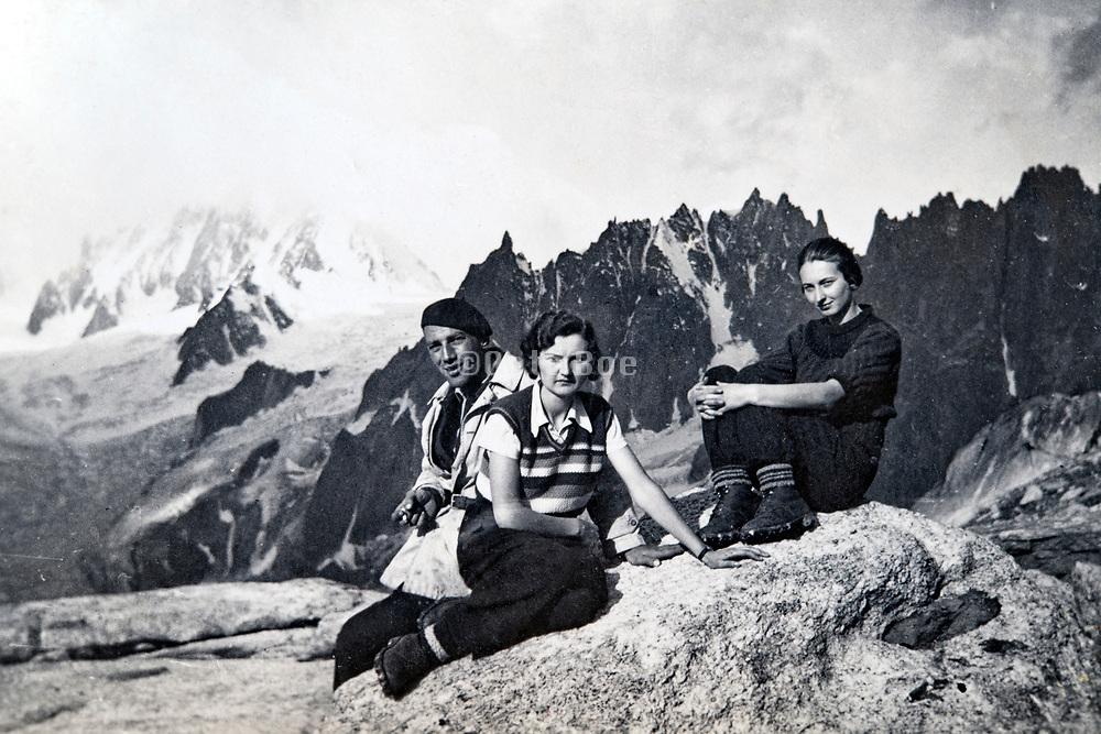 1935 Alps Chamonix near Couvercle and mountain La Tour Ronde