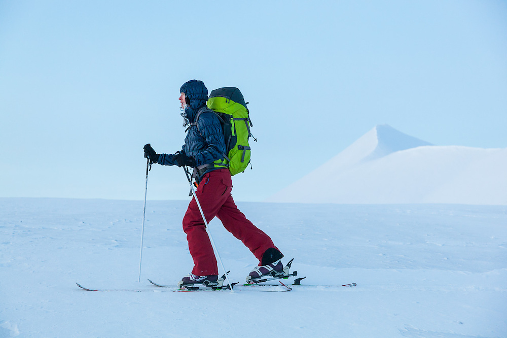 Michelle Blade at dusk in Koslådalen, Svalbard.