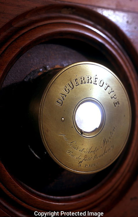 A 27.7 MG IMAGE OF:..Unseen Cameras at the Smithsonian Institution in Washington,DC, A close up of the lens of a camera created by Samuel F.B. Morse--believed to be the first camera used  in the United States. Photo by Dennis Brack,