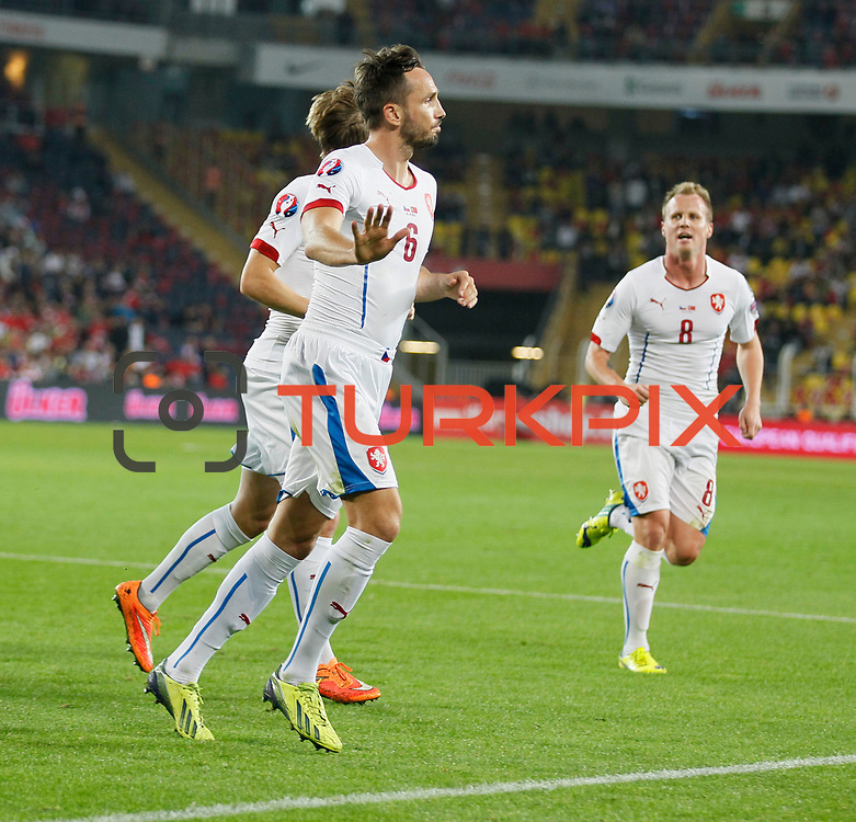 Czech Republic's Tomas Sivok (F) celebrate his goal with team mate during their UEFA Euro 2016 qualification Group A soccer match Turkey betwen Czech Republic at Sukru Saracoglu stadium in Istanbul October 10, 2014. Photo by Aykut AKICI/TURKPIX