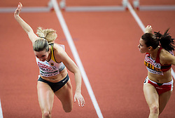 Cindy Roleder of Germany and Alina Talay of Belarus compete in the 60m Hurdles Women Final on day one of the 2017 European Athletics Indoor Championships at the Kombank Arena on March 3, 2017 in Belgrade, Serbia. Photo by Vid Ponikvar / Sportida