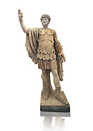 Roman marble sculpture with an unrelated head  of Lucius Verus, body 50-75 AD head 160-169 AD, inv 6081, Museum of Archaeology, Italy ..<br /> <br /> If you prefer to buy from our ALAMY STOCK LIBRARY page at https://www.alamy.com/portfolio/paul-williams-funkystock/greco-roman-sculptures.html . Type -    Naples    - into LOWER SEARCH WITHIN GALLERY box - Refine search by adding a subject, place, background colour, etc.<br /> <br /> Visit our ROMAN WORLD PHOTO COLLECTIONS for more photos to download or buy as wall art prints https://funkystock.photoshelter.com/gallery-collection/The-Romans-Art-Artefacts-Antiquities-Historic-Sites-Pictures-Images/C0000r2uLJJo9_s0