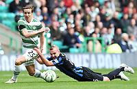 05/10/14 SCOTTISH PREMIERSHIP<br /> CELITC v HAMILTON<br /> CELTIC PARK - GLASGOW<br /> Celtic's Stefan Johansen (left) is brought down by Grant Gillespie