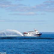 Star Line Ferry In St. Ignace Michigan Heading To Mackinac Island