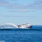 Star Line Ferry In St. Ignace Michigan Heading To Mackinac Island