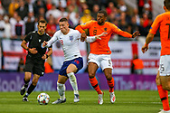 Netherlands Midfielder Tonny Vilhena (Feyenoord) tussles with England midfielder Ross Barkley (Chelsea) during the UEFA Nations League semi-final match between Netherlands and England at Estadio D. Afonso Henriques, Guimaraes, Portugal on 6 June 2019.