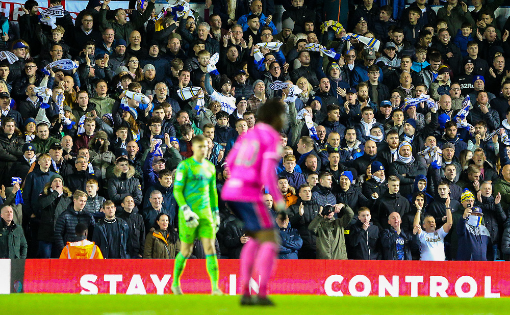 Leeds United fan celebrate after their side took the lead<br /> <br /> Photographer Alex Dodd/CameraSport<br /> <br /> The EFL Sky Bet Championship - Leeds United v Queens Park Rangers - Saturday 8th December 2018 - Elland Road - Leeds<br /> <br /> World Copyright © 2018 CameraSport. All rights reserved. 43 Linden Ave. Countesthorpe. Leicester. England. LE8 5PG - Tel: +44 (0) 116 277 4147 - admin@camerasport.com - www.camerasport.com