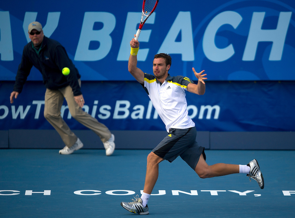 Ernests Gulbis (LAT) in action during his victory over Edouard Roger-Vasselin (FRA) in their Final match today - Ernests Gulbis (LAT) def Edouard Roger-Vasselin (FRA) 7-6(3) 6-3..ATP 250 Tennis - 2012 Delray Beach International Tennis Championships - Day 7 -  Sunday 3rd March 2013 - Delray Beach Stadium & Tennis Center - Delray Beach - Florida - USA..© CameraSport - 43 Linden Ave. Countesthorpe. Leicester. England. LE8 5PG - Tel: +44 (0) 116 277 4147 - admin@camerasport.com - www.camerasport.com