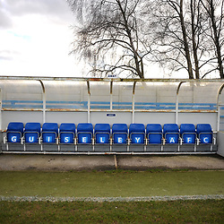 TELFORD COPYRIGHT MIKE SHERIDAN A general view of dugouts at Nethermoor Park  during the Vanarama Conference North fixture between Guiseley and AFC Telford United at Nethermoor Park on Saturday, February 8, 2020.<br /> <br /> Picture credit: Mike Sheridan/Ultrapress<br /> <br /> MS201920-046