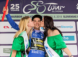 Primoz Roglic of Team Lotto NL Jumbo celebrates in blue jersey as best in mountain classification during trophy ceremony after the 3rd Stage of 25th Tour de Slovenie 2018 cycling race between Slovenske Konjice and Celje (175,7 km), on June 15, 2018 in  Slovenia. Photo by Vid Ponikvar / Sportida