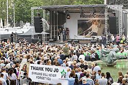 Trafalgar Square, London, June 22nd 2016. Thousands of people flood London's Trafalgar Square to celebrate what would have been slain Labour MP for Batley & Spen Jo Cox's 42nd birthhday. PICTURED: Brendan Cox, close to tears, delivers a moving speech about his late wife Jo.