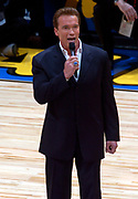 California governor Arnold Schwarzenegger at the NBA All-Star Game on Sunday, Feb. 15, 2004 in Los Angeles.
