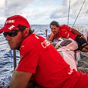 Leg 8 from Itajai to Newport, day 09 on board MAPFRE, Doldrums, Juan Vila And Antonio Cuervas-Mons at the bow. 30 April, 2018.