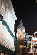 """Bell tower of the Cathedral of Cartagena de Indias and the building of the """"auto da fe"""""""
