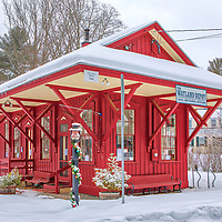 The Wayland Depot and railroad train station in Wayland covered in a wintry snowy wonderland. This Massachusetts historic landmark is located next to the Mass Central Wayside Rail Trail in Wayland Center, and is home to many local and international artisans.<br /> <br /> Massachusetts Wayland Depot photography images are available as museum quality photo, canvas, acrylic, wood or metal prints. Wall art prints may be framed and matted to the individual liking and interior design decoration needs:<br /> <br /> https://juergen-roth.pixels.com/featured/the-wayland-depot-juergen-roth.html<br /> <br /> Good light and happy photo making!<br /> <br /> My best,<br /> <br /> Juergen