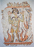 Roman mosaic of a Hebrew, possibly from North Syria 5th-6th century AD J-C. dressed in Oriental clothing, that young man is identified by writing in Syriac has the right to his head: it tells of three Hebrews miraculously surviving after being thrown into a fire for refusing to worship the image of Nebuchadnezzar. This is biblical episode is from the Book Daniel (3 1-30), and is commonly illustrated in the East as in the West. Inv 3671, The Louvre Museum, Paris .<br /> <br /> If you prefer to buy from our ALAMY PHOTO LIBRARY  Collection visit : https://www.alamy.com/portfolio/paul-williams-funkystock/roman-mosaic.html - Type -   Louvre    - into the LOWER SEARCH WITHIN GALLERY box. Refine search by adding background colour, place, museum etc<br /> <br /> Visit our ROMAN MOSAIC PHOTO COLLECTIONS for more photos to download  as wall art prints https://funkystock.photoshelter.com/gallery-collection/Roman-Mosaics-Art-Pictures-Images/C0000LcfNel7FpLI .