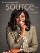 Howard County Library System's new President and CEO, Tonya Kennon on the cover of the new Source Magazine.