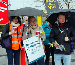 Portsmouth,Hampshire Wednesday 9th March 2016 Queen Alexandra Hospital Portsmouth <br /> Queen Alexandra Hospital Portsmouth Junior doctors at the hospital have began their first 48-hour strike within hours as part of their ongoing protest over threats to impose a new contract.<br /> <br /> The 50  members of the British Medical Association will provide emergency care only on Wednesday. They are walking out as part of the 38,000 members of the BMA.<br /> <br /> More than  approx  50 operations  have been effect and had to a be cancelled over the following two days due to the strike action.<br /> <br /> <br /> <br /> Outpatient clinics at the hospital  are also affected as consultants rearrange their work to cover gaps left by striking medics. Queen Alexandra Hospital is  already at 'breaking point' as it struggles to cope with crippling demand placed upon it.<br /> <br /> This is the third strike in a matter of  months held at the hospital<br /> <br /> The Cosham hospital  has been  placed on 'black alert'  a number of times this year  as it cannot cope with the sheer number of people flooding in for emergency treatment. ©UKNIP