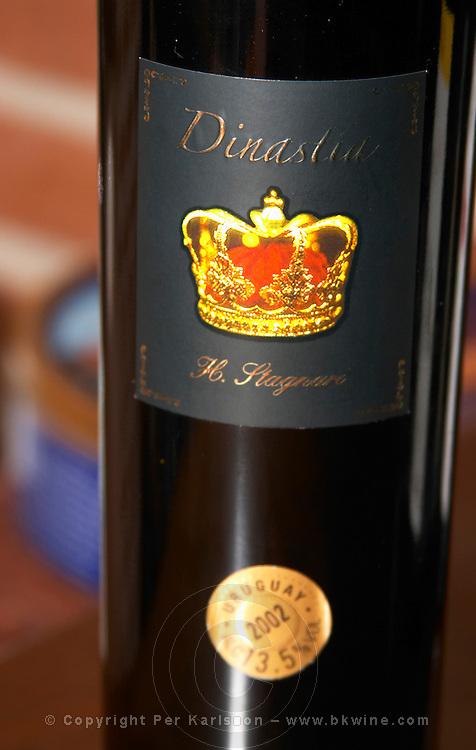 Dinastia H Stagnari with a royal crown on the label Bodega Vinos Finos H Stagnari Winery, La Puebla, La Paz, Canelones, Montevideo, Uruguay, South America
