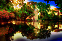 """""""The Mystical Reflections of Villa Borghese Rome - Painting by Dino Carbetta""""…<br /> <br /> Villa Borghese in Roma is a famous Gardens and Museum begun in the early 17th century, highlighted by a """"Temple of Aesculapius"""" at the garden lake. The Temple is located in the gardens of Borghese in Roma and was styled in the ionic characteristic by Antonio Asprucci. The temple was perhaps built-in memory of the destroyed ancient temple to the god of Medicine on Tiber Island. The temple houses a statue of Aesculapius believed to be originally from the Mausoleum of Augustus. Neglected over the centuries, it was restored by Vincenzo Pacetti and sold to Marcantonio Borghese IV in 1785. Stretching from above Piazza del Popolo to the top of Via Veneto, Villa Borghese crowns Rome in a glorious canopy of Green. Despite the onward march of the years and extensive developmental changes to Rome, Villa Borghese has remained a perennial and pleasant space, diluting the impact of an otherwise ever-expanding urban Metropolis. The Park was originally a private vineyard, redesigned and enlarged in 1605 to grandiose proportions for Pope Paul V's nephew, the Cardinal Scipione Borghese. However, it was named after the Borghese family on the condition that it boasted the most luxurious and magnificent dwelling in Rome. Visiting the very spaciously plush park and lovely atmosphere of tall secluding lavish trees, blissful gardens, and colorful reflective lakes, one is taken away from the city life and transported to a serene country paradise. Peace and relaxation encompass the body and soul and gives time and rumination of the historical and religious world capital which is the ever Eternal City of Roma."""