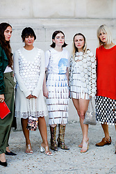 Street style, Erika Boldrin, Maria Bernad, Reese Blutstein, Courtney Tropp, and Linda Tol arriving at Paco Rabanne spring summer 2019 ready-to-wear show, held at Grand Palais, in Paris, France, on September 27th, 2018. Photo by Marie-Paola Bertrand-Hillion/ABACAPRESS.COM