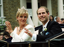 Prince Edward, the youngest son of Britain's Queen Elizabeth II and his bride Sophie Rhys-Jones ride through the streets of Windsor after their wedding at St George's Chapel in Windsor Castle.  The royal couple met in 1993 at a charity tennis match organised by the Prince.  * Buckingham Palace announced before the wedding that the Royal couple will in future be known as the Earl and Countess of Wessex.