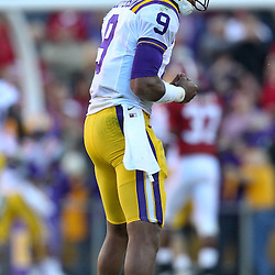 November 6, 2010; Baton Rouge, LA, USA;  LSU Tigers quarterback Jordan Jefferson (9) celebrates following a touchdown pass during the second half against the Alabama Crimson Tide at Tiger Stadium. LSU defeated Alabama 24-21.  Mandatory Credit: Derick E. Hingle