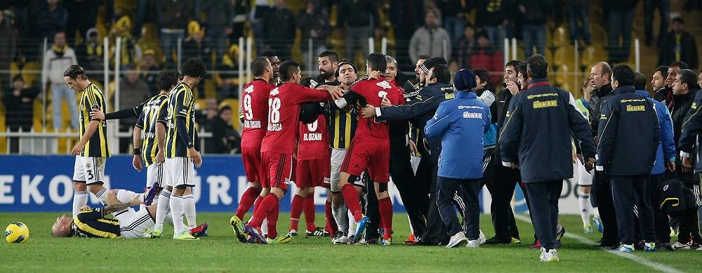 Fenerbahce's Mirosloav Stoch (L) during their Turkish superleague soccer match Fenerbahce between Gaziantepspor at the Sukru Saracaoglu stadium in Istanbul Turkey on Monday09 January 2011. Photo by TURKPIX
