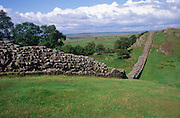 Remains of the Roman Hadrian´s Wall, Walltown Crag, Northumberland, England
