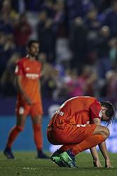 April 19, 2018 - Valencia, Valencia, Spain - Ignasi Miguel Pons of Malaga CF reacts after the defeat during the La Liga game between Levante UD and Malaga CF at Ciutat de Valencia on April 19, 2018 in Valencia, Spain  (Credit Image: © David Aliaga/NurPhoto via ZUMA Press)
