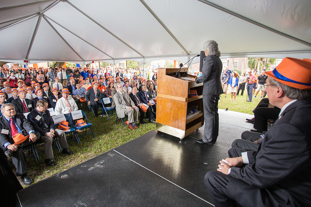 Naming ceremony for the University of Florida's College of Engineering to honor Dr. Herbert Wertheim for his $50 million donation to the college. The college is renamed to the Herbert Wertheim College of Engineering.
