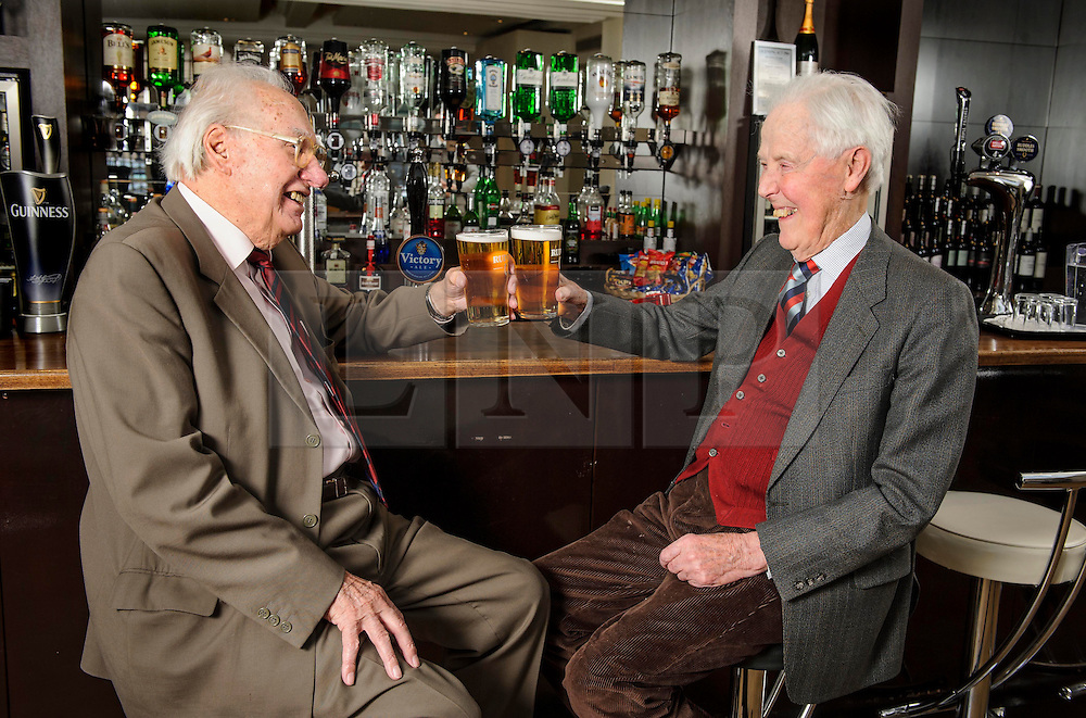 """**COPY FOUND HERE: https://www.dropbox.com/s/bj4js2ci6ctmtyw/Soldiers.txt *** © Licensed to London News Pictures. 05/02/2014 London, UK. Army driver Fred Harris, 91 (LEFT) meets General Sir Hugh Beach GBE, KCB, MC (RIGHT) at The Military Services Club, Marble Arch. Driver Harris saved the then Lieutenant's life on a reconnaissance mission in 1944 after he was shot in northern France. Beach would go on to become a General in the Army, one of the highest ranks, knighted twice by the Queen and receive the Military Cross at aged 21. Harris never received any medals for his actions. The two men met again for the first time in 70 years. Harris said, """"It was only last year that I found out who he was., """"It was fantastic to see him again - I think he owes me a beer!"""""""