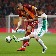Galatasaray's Burak Yilmaz (L) during their Turkish Super League soccer match Galatasaray between TorkuKonyaspor at the AliSamiYen Spor Kompleksi TT Arena at Seyrantepe in Istanbul Turkey on Friday, 08 May 2015. Photo by Kurtulus YILMAZ/TURKPIX