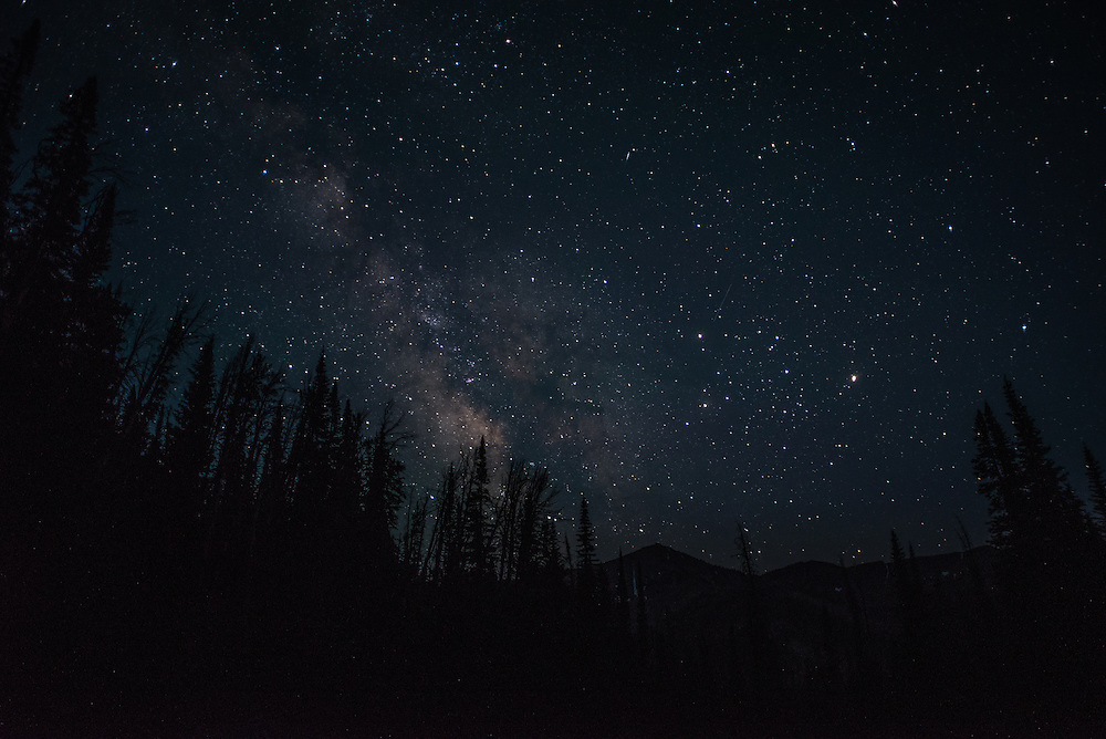 The Milky Way as seen from the slopes of Avlanche Peak in Yellowstone National Park