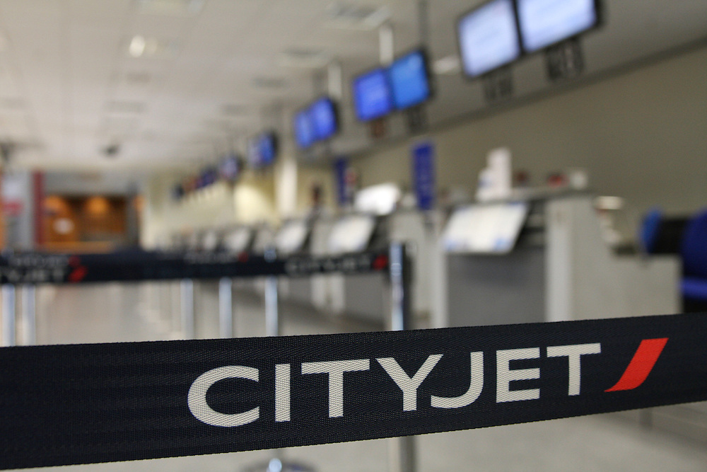 A deserted London City Airport during the air travel (volcano) crisis, April 2010