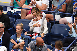 His wife Mirka Federer with one of their twin sons watch Roger Federer plays his second round match at the 2019 US Open at Billie Jean National Tennis Center in New York City, NY, USA, on August, 28, 2019. Photo by Corinne Dubreuil/ABACAPRESS.COM