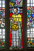 Detail of Saint Luke, stained glass window by Margaret Edith Aldrich Rope ( 1891-1988), Church of Saint Margaret, Leiston, Suffolk, England, UK