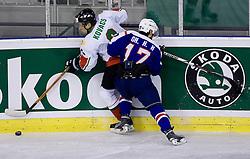 Csaba Kovacs of Hungary vs Ho Hyon OH of Korea at IIHF Ice-hockey World Championships Division I Group B match between National teams of Korea and Hungary, on April 17, 2010, in Tivoli hall, Ljubljana, Slovenia. Hungary defeated Korea 4-2. (Photo by Vid Ponikvar / Sportida)