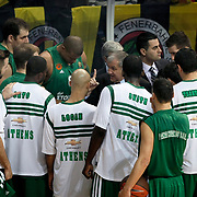 Panathinaikos's coach Zeljko Obradovic (C) during their Euroleague Top 16 week 3 game 3 basketball match Fenerbahce Ulker between Panathinaikos at Fenerbahce Ulker Sports Arena in Istanbul Turkey on Thursday 02 February 2012. Photo by TURKPIX