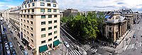 Paris, France. Panorama view from Rue du Faubourg Saint-Honore with the church of Saint-Philippe-du-Roule, a historical monument.