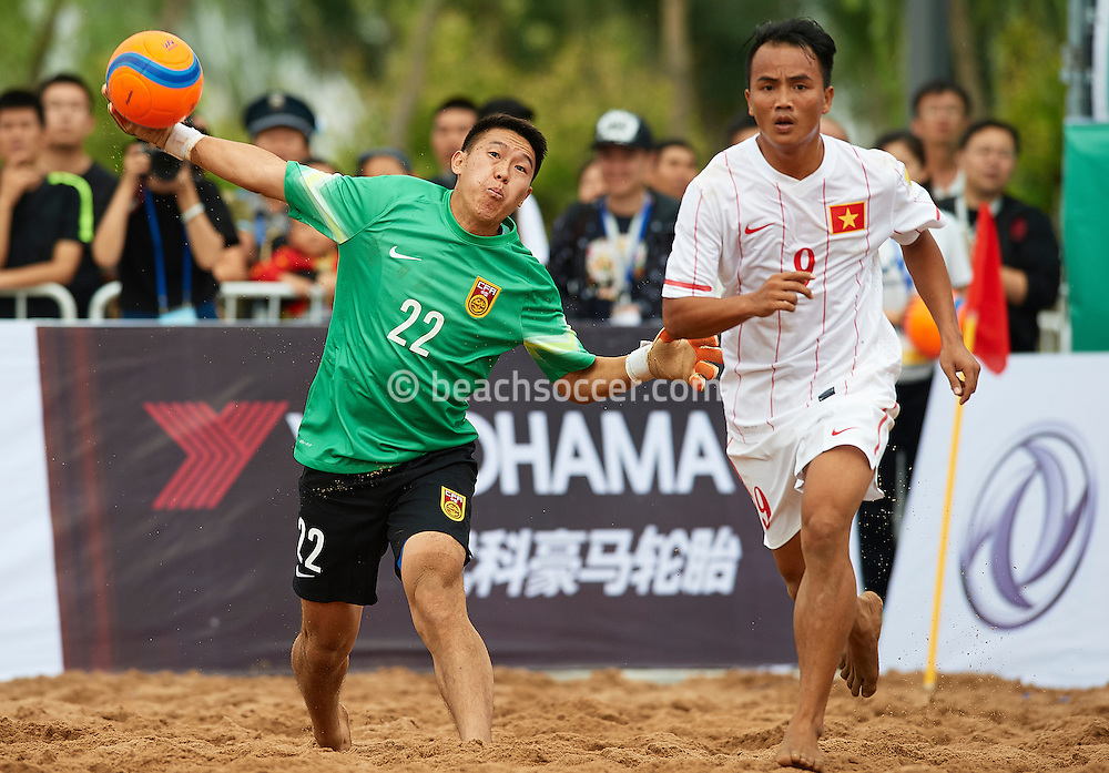 ORDOS, CHINA - AUGUST 23:  Continental Beach Soccer Tournament Ordos at Ordos Municipal Sports Center on August 23, 2016 in Ordos, China (Photo by Manuel Queimadelos)